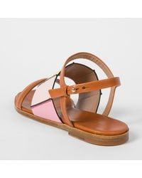 Paul Smith - Brown Women's Tan Colour-block Leather 'constance' Sandals - Lyst