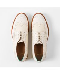 Paul Smith - White Women's Ivory Leather And Canvas 'maddie' Brogues - Lyst