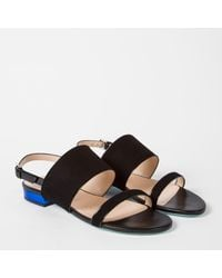 Paul Smith - Women's Black Suede And Leather 'cleo' Sandals - Lyst