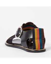 Paul Smith - Women's Black Leather Sandals With 'artist Stripe' Webbing - Lyst