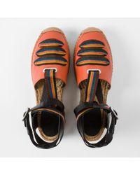 Paul Smith - Women's Burnt Orange Leather 'march' Espadrilles With Artist Stripe Straps - Lyst