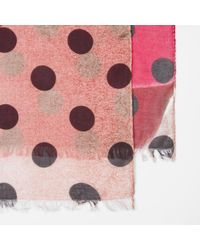 Paul Smith - Women's Pink And Red 'rose' And Polka Dot Print Scarf - Lyst