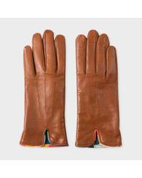 Paul Smith | Multicolor Women's Tan Lambskin 'artist Stripe' Trim Gloves | Lyst