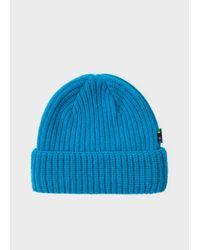 Paul Smith - Men's Neon Blue Wool Beanie Hat for Men - Lyst
