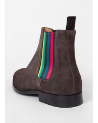 Paul Smith - Gray Men's Dark Grey Suede 'gerald' Chelsea Boots for Men - Lyst