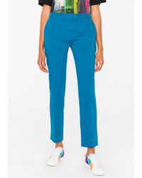 Paul Smith - Blue Women's Slim-fit Turquoise Stretch-cotton Chinos - Lyst