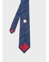 Paul Smith - Blue Men's Navy Thin Diagonal Stripe Silk Tie for Men - Lyst
