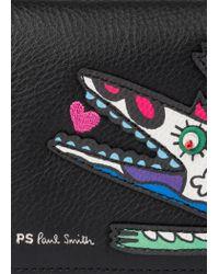 Paul Smith - Black 'karami Crocodile' Appliqué Folded Leather Wallet - Lyst