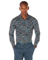 Perry Ellis - Blue Slim Fit 3d Floral Print Shirt for Men - Lyst