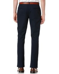 Perry Ellis | Black Portfolio Straight-fit Sorona Solid Twill Pants for Men | Lyst