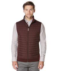 Perry Ellis - Multicolor Horizontal Stripe Quilted Zip Vest for Men - Lyst