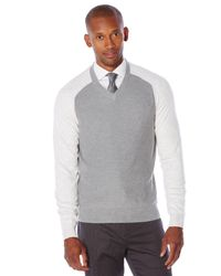 Perry Ellis - Gray Long Sleeve Colorblock Sweater for Men - Lyst