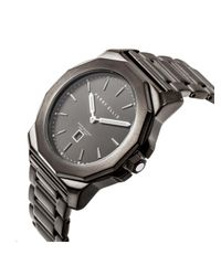 Perry Ellis - Unisex Decagon Black Stainless Steel Watch - Lyst