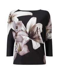 Phase Eight - Black Daria Digital Floral Top - Lyst