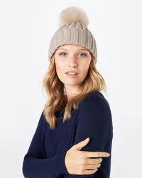 Phase Eight | Natural Wool Blend Pom Pom Hat | Lyst