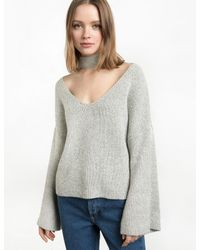 Pixie Market | Gray Grey Neck Choker Bell Sweater | Lyst