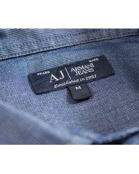 Armani Jeans - Soft Cotton Micro Striped Shirt Mid Blue for Men - Lyst