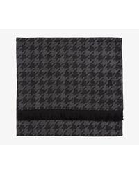 Canali - Gray Houndstooth Lightweight Wool Scarf Black & Grey - Lyst