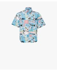 Prada - Blue Printed Cotton Shirt for Men - Lyst