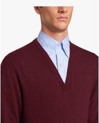 Prada Red Lambswool V-neck Sweater for men