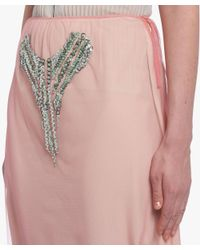 Prada - Pink Embroidered Tulle Skirt - Lyst
