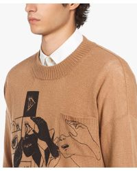 Prada - Brown Crew-neck Cashmere Sweater With Print for Men - Lyst