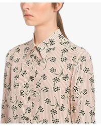 Prada - Multicolor Silk Blouse With Mimosa Print - Lyst