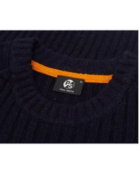 Paul Smith - Blue Suede Patch Cable Knit for Men - Lyst