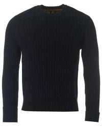 Paul Smith | Blue Suede Patch Cable Knit for Men | Lyst