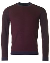 Ted Baker | Purple Cambell Colour Block Crew Neck Jumper for Men | Lyst