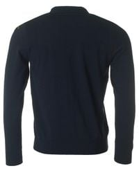 Paul And Shark - Blue Long Sleeved Knit Polo for Men - Lyst