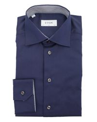 Eton of Sweden - Blue Contrast Trim Poplin Slim Fit Shirt for Men - Lyst