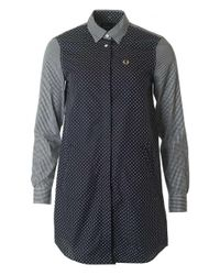 Fred Perry | Blue Gingham Polka Shirt Dress | Lyst