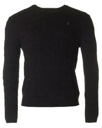 Polo Ralph Lauren   Black Cable Crew Neck Knitted Jumper for Men   Lyst