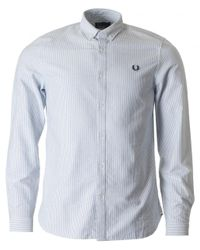 Fred Perry   Blue Long Sleeved Oxford Pinstriped Shirt for Men   Lyst
