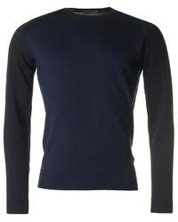 John Smedley - Blue Hindlow Contrast Sleeve Merino Crew Knit for Men - Lyst