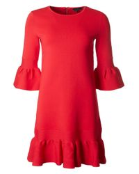 Ted Baker - Red Ribbed Bell Sleeved Dress - Lyst