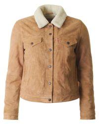Levi's - Brown Suede Sherpa Trucker Jacket - Lyst