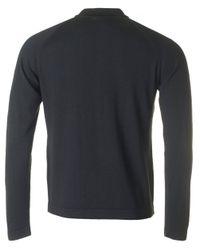 J.Lindeberg - Black File Long Sleeved Knitted Polo for Men - Lyst