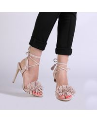 056779481db Lyst - Public Desire Silvia Fringed Heels In Nude Faux Suede in Natural