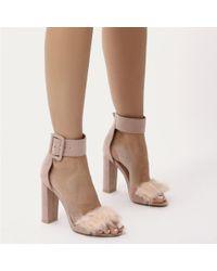 Public Desire - Power Self Buckled Faux Fur Block High Heels In Blush Pink Faux Suede - Lyst