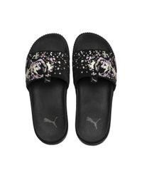 PUMA - Black Platform Slide Digital Embroidery Women's Sandals - Lyst