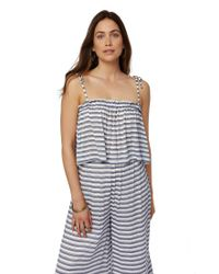 Rachel Pally - Rayon Spaghetti Tie Top - Blue/ White Stripe - Lyst