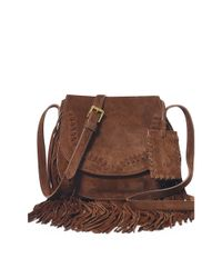 Polo Ralph Lauren - Brown Fringed Suede Cross-body - Lyst