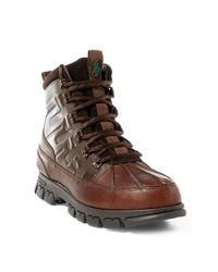 Polo Ralph Lauren | Brown Flaxby Tumbled Leather Boot for Men | Lyst