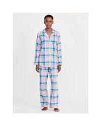 Pink Pony | Blue Plaid Brushed Twill Pajama Set | Lyst