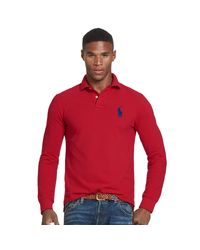 Polo Ralph Lauren | Red Slim Fit Cotton Mesh Polo for Men | Lyst