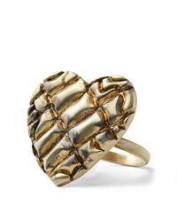 Ralph Lauren - Metallic Textured Brass Heart Ring - Lyst