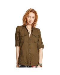 Denim & Supply Ralph Lauren | Brown Cotton Twill Shirt | Lyst
