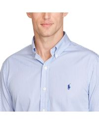 Polo Ralph Lauren - Blue Striped Cotton Poplin Shirt for Men - Lyst